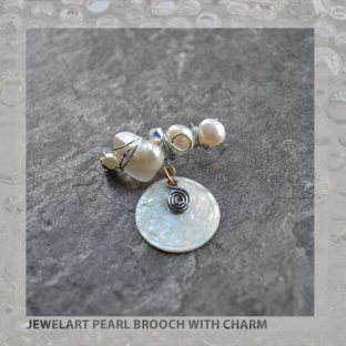 jewelart pearl brooch with charm