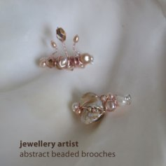 jewelart shell and pearl beaded brooches