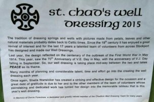 Info board at St Chad's Well Dressing 2015