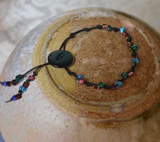 Lara's beads and cord bracelet with button fastener (from the April class)