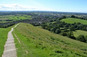 the view back to Glastonbury from the Tor