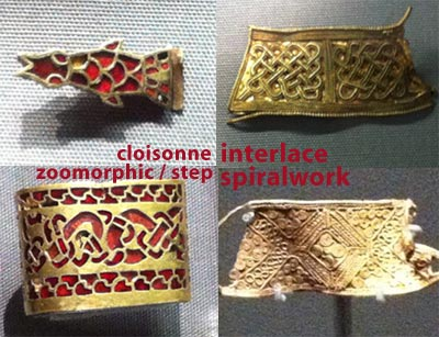 different patterns and styles of Anglo Saxon art