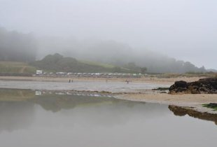 Hemmick Beach in the fog