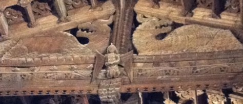 the famous carved dragon roof at Somerton in Somerset